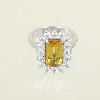 Ring, 585er WG, besetzt mit 1 gelben