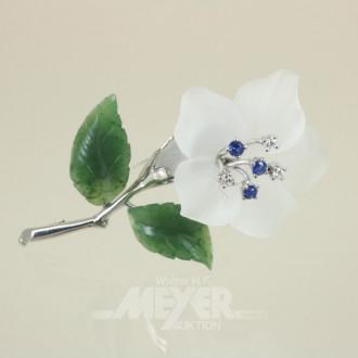 Brosche, 750er WG, blütenförmig