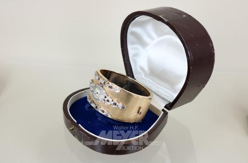 Armspange, 585er GG mit einer Uhr