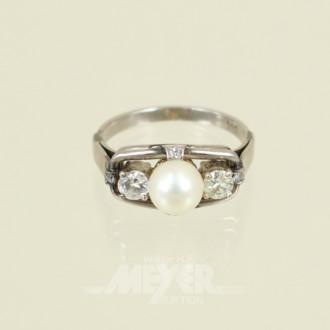 Damenring, 585er WG, mit 1 Perle