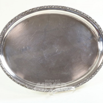 ovales Tablett, 835er Silber,