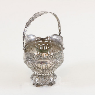 Henkelkorschale, 800er Silber mit Ranken