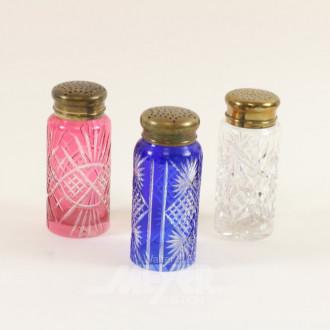 3 versch. farbige Kristall-Zuckerstreuer