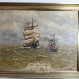 Gemälde ''Segler mit Schlepper''