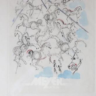 Grafik ''Blaue Pferde'', nach Dali