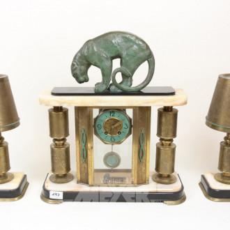 Portaluhr, Art-Deco, mit Onyx und