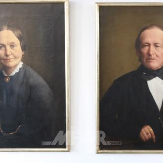 2 Gemälde ''Damen/Herren-Portraits''
