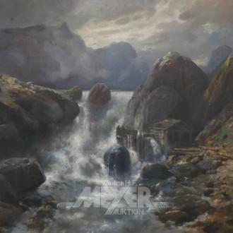 gr. Gemälde ''Wasserfall mit Mühle''