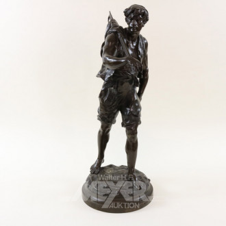 gr. Bronzeskulptur, ''Fischer''