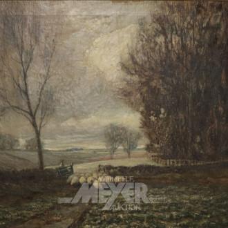 Gemälde ''Landschaft mit Schafsherde''