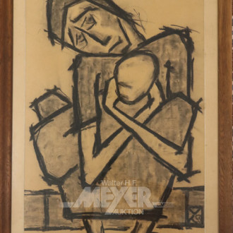 Zeichnung, ''Maria mit Kind''
