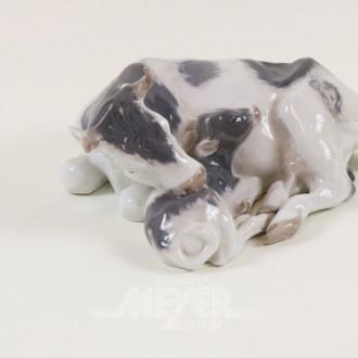 Porzellanfigur, ''Kuh mit Kälbchen''