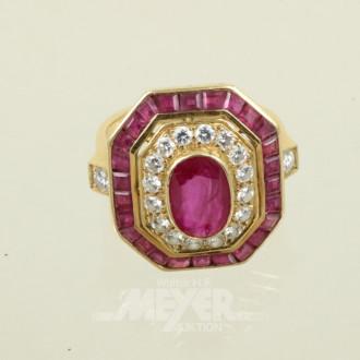 Ring, 750er GG, besetzt mit 1 gr. Rubin,