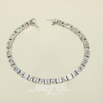 Brillant-Armband, 18 ct. WG, rhodiniert,