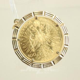 Münzanhänger, 750er GG, mit 100 Kronen