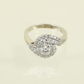 Ring, 750er WG, mit 1 kl. Brillanten
