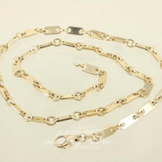 Glieder-Halskette, 585er GG, ca. 44,1 g.