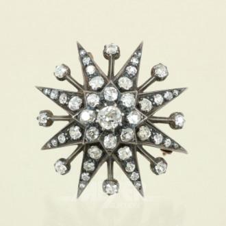 antike Sternenbrosche, Silber auf GG,