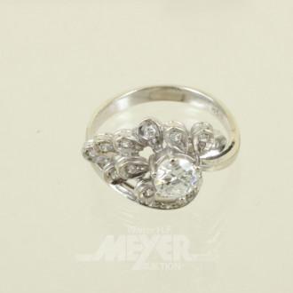 Ring, 750er WG, bes. mit 1 Brillanten