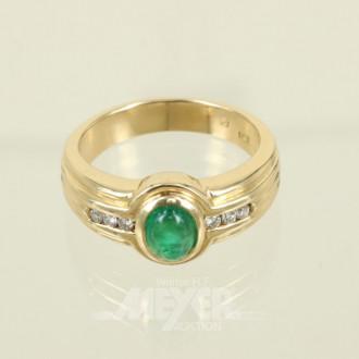 Ring, 750er GG, mit 1 Smaragd-Cabouchon