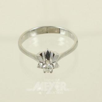 kl. Ring, 750er WG, mit 1 kl. Diamanten