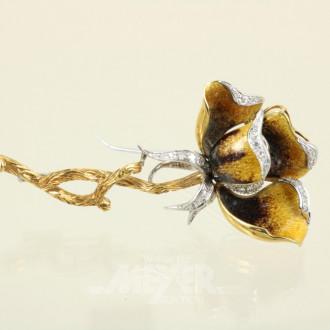 Brosche, 750er GG, in Form einer Rose,