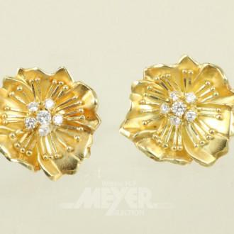 Paar Ohrringe, 750er GG, ca. 24,5 g.