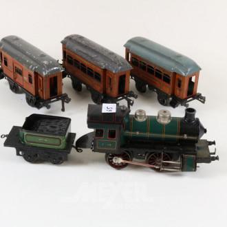 D-Lok, 1 Tender und 3 Waggons
