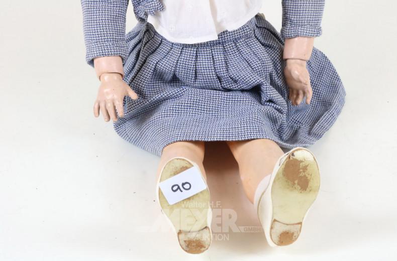 gr. Puppe ''Mädchen mit Strohhut''