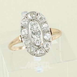 Damenring, 585er GG, mit Diamanten im