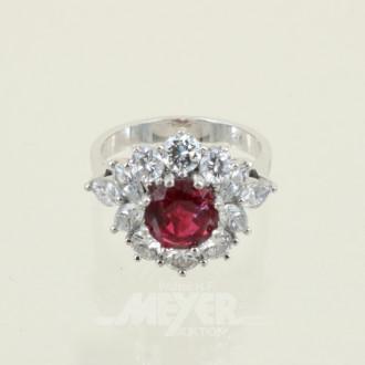 Ring, 750 WG, besetzt mit 1 Rubin,