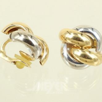 Paar Knotenform-Ohrclips, 750er GG/WG