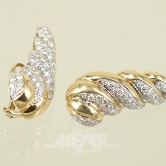 Paar Ohrringe, 585er GG, muschelförmig