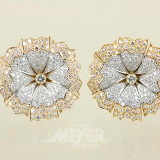 Paar Ohrringe, 750er WG/GG, blütenförmig
