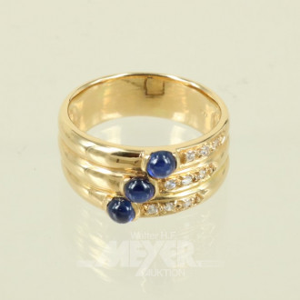 Ring, 750er GG, besetzt mit 3 Safiren