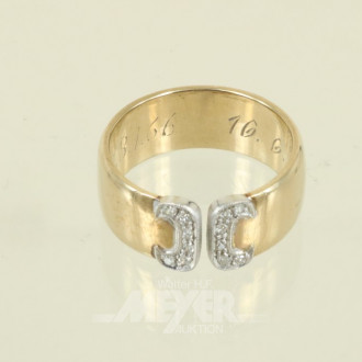 breiter Ring, 585er GG, ca. 10 g.,