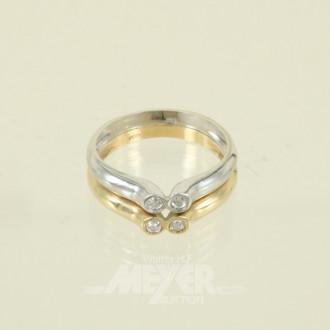 Ring, 585er GG/WG, besetzt mit 4 kl.