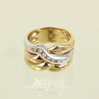 breiter Ring, 750er GG/WG/RG, ca. 10 g.