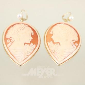 Paar Gemmen-Ohrgehänge, 750er GG,