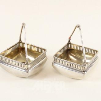 Paar Henkelkörbchen, Silber,
