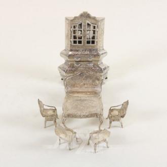 Miniaturmöbel-Einrichtung, Silber,