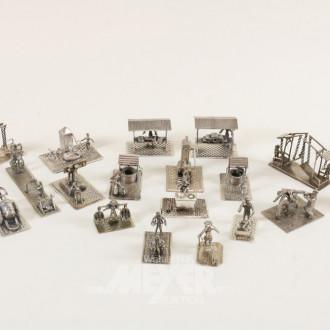 Sammlung Miniaturfiguren, Silber,