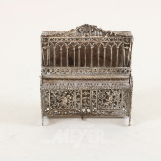 Miniatur-Klavier, Silber, ca. 120 g.