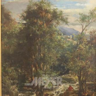 Gemälde, ''Waldlandschaft mit Flusslauf'',