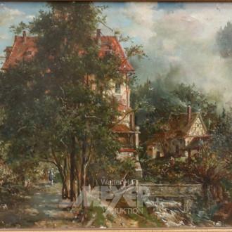 Gemälde, ''Allee mit Häusern''