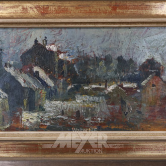 kl. Gemälde ''Dächer im Schnee''