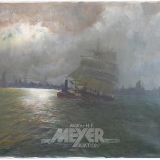 Gemälde ''Auslaufender Segler bei Nacht''