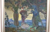 Gemälde ''3 Damen bei der Apfelernte''