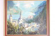 Gemälde ''Rheinlauf mit Dorfansicht''