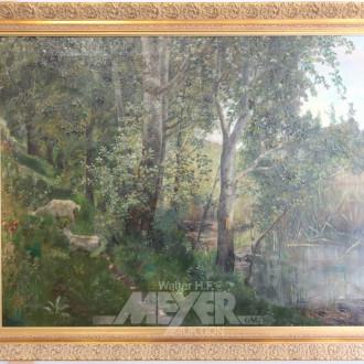 Gemälde ''Ziegen am Bachlauf''